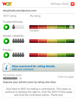 WOT scorecard for this blog, with a rating being set