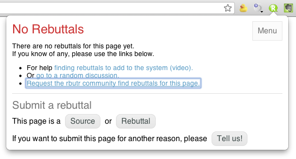 "Screen shot showing ""Request the rbutr community find rebuttals for this page"" link in RBUTR."