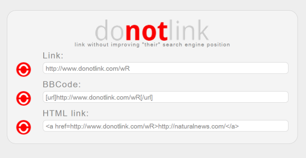 Results at donotlink.com after pasting in a URL to Natural News.