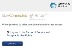 A typical screen shown as you connect to free WiFi. Check the box and click the button to continue using the Internet.