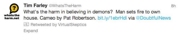 VirtualSkeptics retweeting WhatsTheHarm