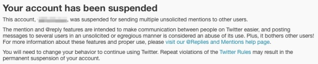 Twitter Error message for spam