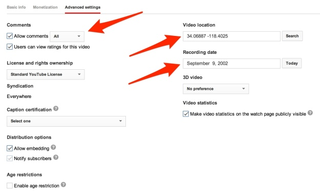 YouTube video advanced settings