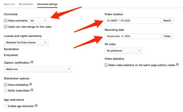 YouTube video advanced settings