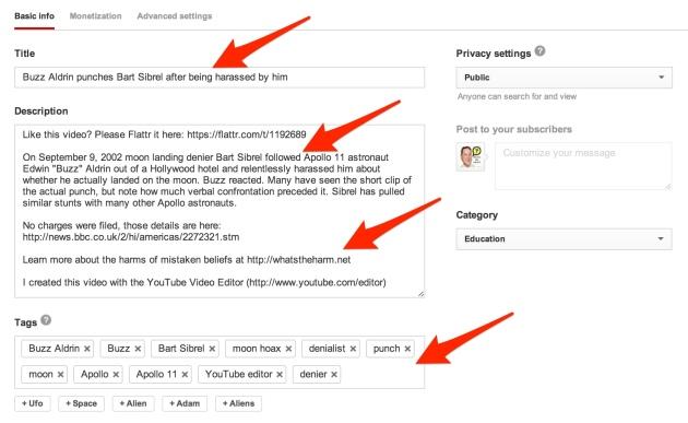 YouTube video basic info