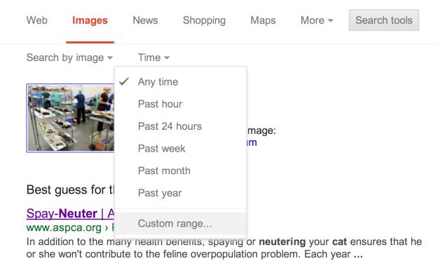 Search Tools | Custom Range...