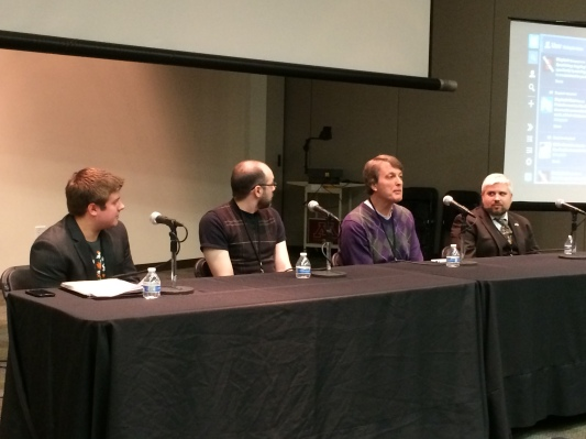 Security panel at Skep Tech 2, April 6, 2014. L to R: Sean Wurgler, Jason Thibeault, Tim Farley and Neil Wehneman.