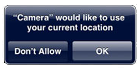 """Camera"" would like to use your current location"