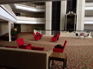 "Hilton Atlanta ""Space Lounge"" on  levels 5, 12 and 19."