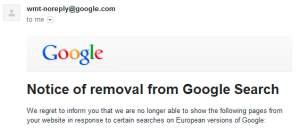 Notice of removal from Google search as it appears in email