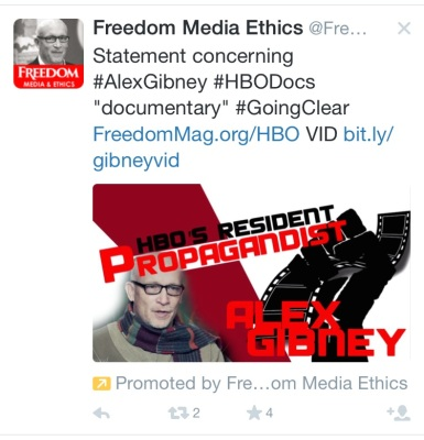 "Twitter @FreedomEthics: Statement concerning #AlexGibney #HBODocs ""documentary"" #GoingClear FreedomMag.org/HBO VID bit.ly/gibneyvid"