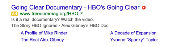 "Scientology Google ad on ""Going Clear"""